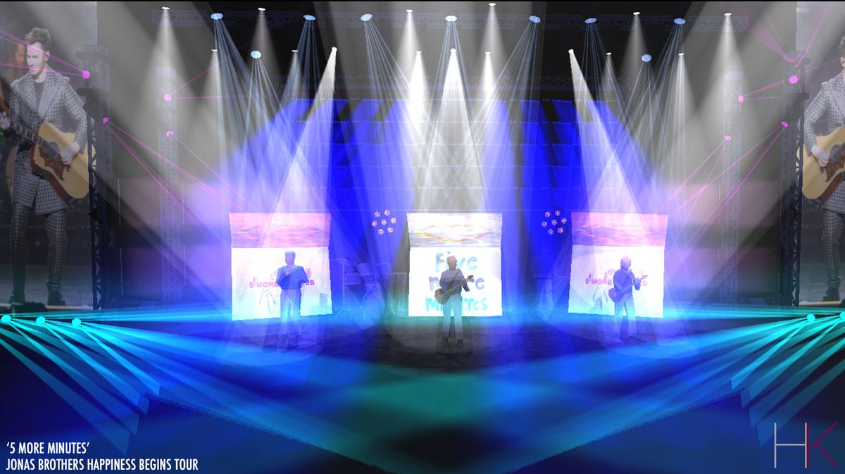 Rendering design for Jonas Brothers tour by Hannah Kerman